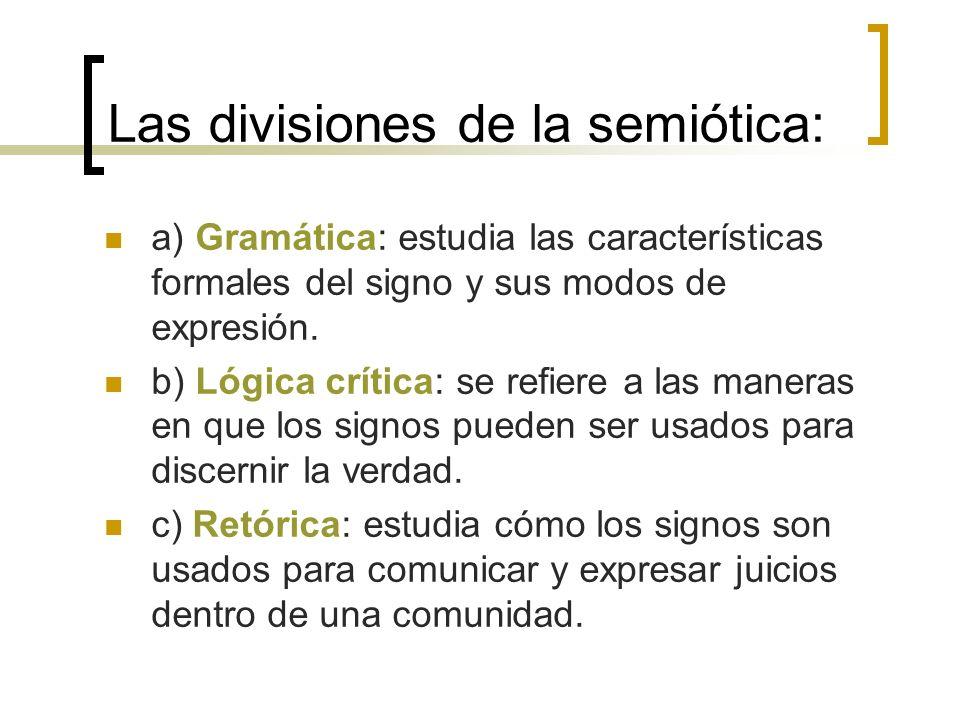 Las divisiones de la semiótica: a) Gramática: estudia las características formales del signo y sus modos de expresión. b) Lógica crítica: se refiere a