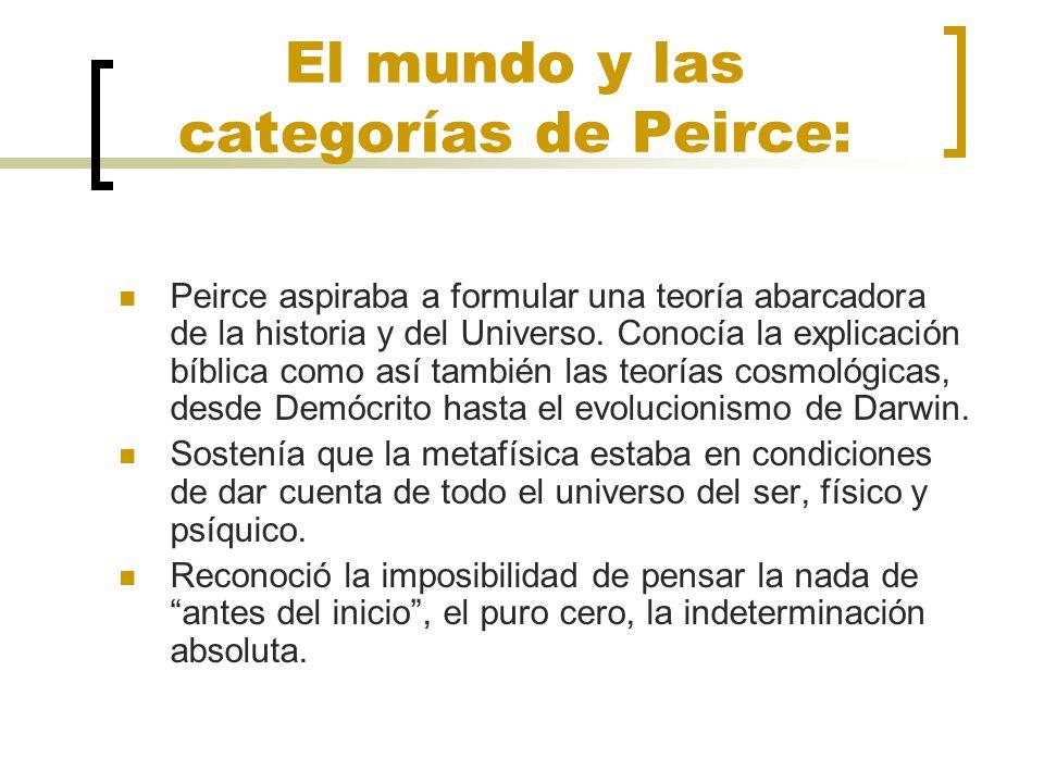 El mundo y las categorías de Peirce: Peirce aspiraba a formular una teoría abarcadora de la historia y del Universo. Conocía la explicación bíblica co
