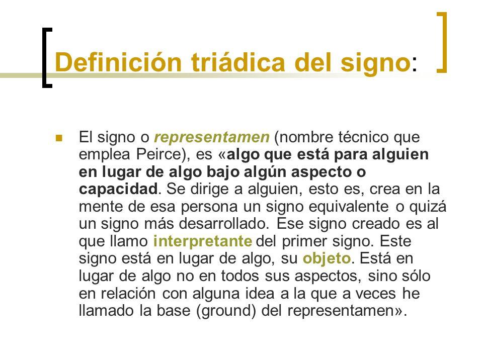 Definición triádica del signo: El signo o representamen (nombre técnico que emplea Peirce), es «algo que está para alguien en lugar de algo bajo algún