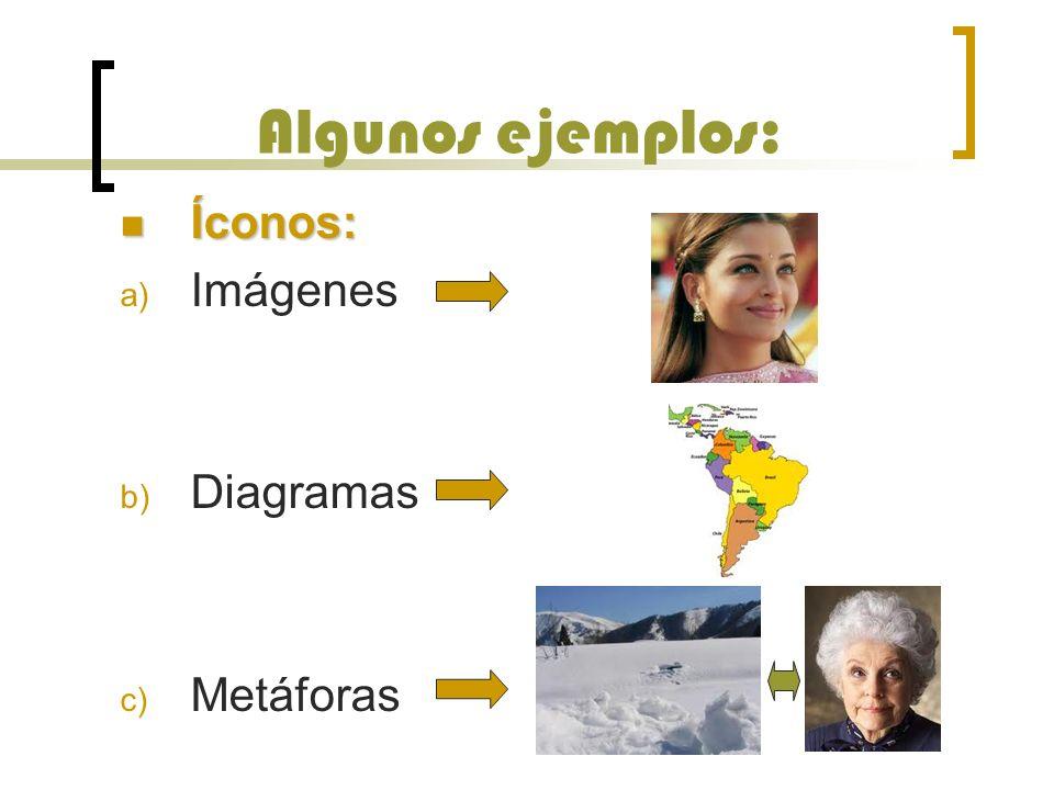 Algunos ejemplos: Íconos: Íconos: a) Imágenes b) Diagramas c) Metáforas