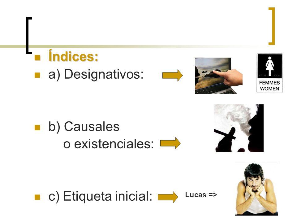 Índices: Índices: a) Designativos: b) Causales o existenciales: c) Etiqueta inicial: Lucas =>