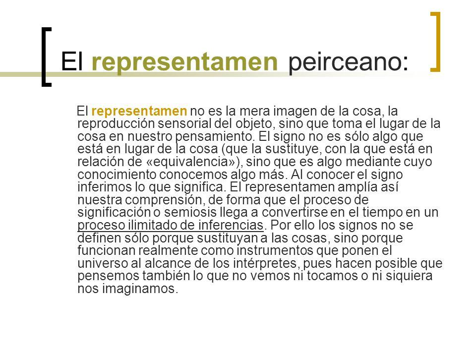 El representamen peirceano: El representamen no es la mera imagen de la cosa, la reproducción sensorial del objeto, sino que toma el lugar de la cosa