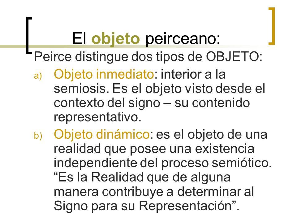 El objeto peirceano: Peirce distingue dos tipos de OBJETO: a) Objeto inmediato: interior a la semiosis. Es el objeto visto desde el contexto del signo