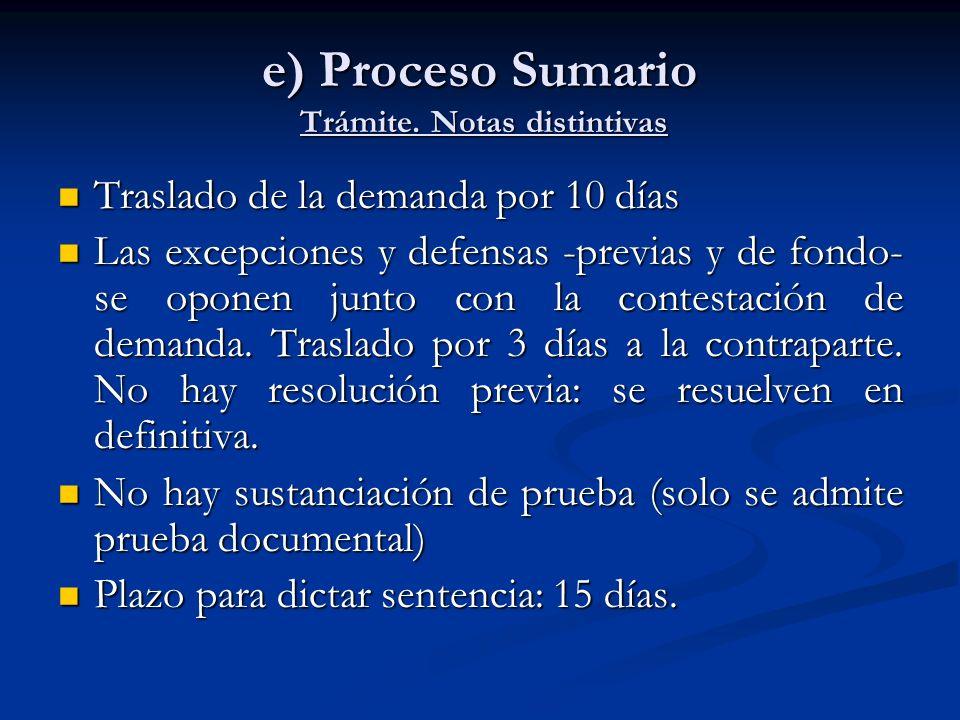 e) Proceso Sumario Trámite. Notas distintivas Traslado de la demanda por 10 días Traslado de la demanda por 10 días Las excepciones y defensas -previa