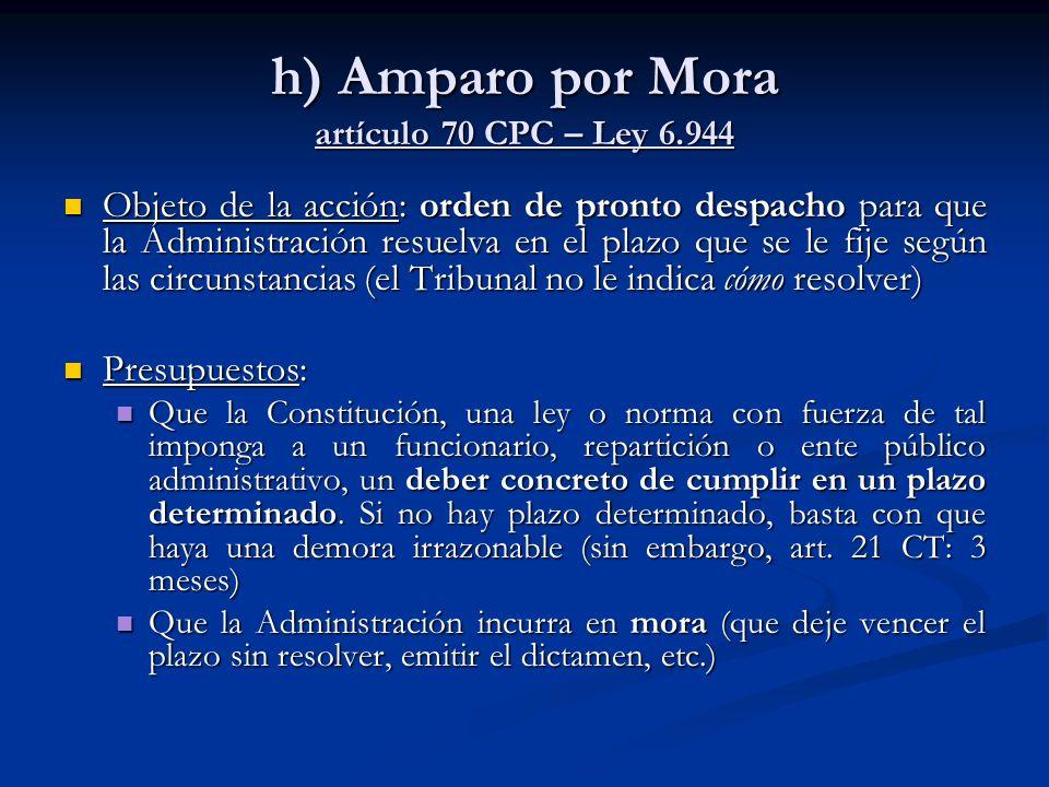 h) Amparo por Mora artículo 70 CPC – Ley 6.944 Objeto de la acción: orden de pronto despacho para que la Administración resuelva en el plazo que se le