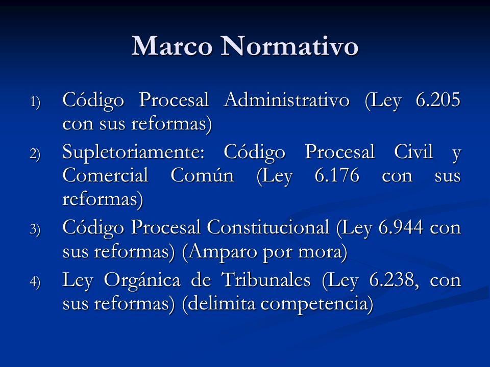 Marco Normativo 1) Código Procesal Administrativo (Ley 6.205 con sus reformas) 2) Supletoriamente: Código Procesal Civil y Comercial Común (Ley 6.176