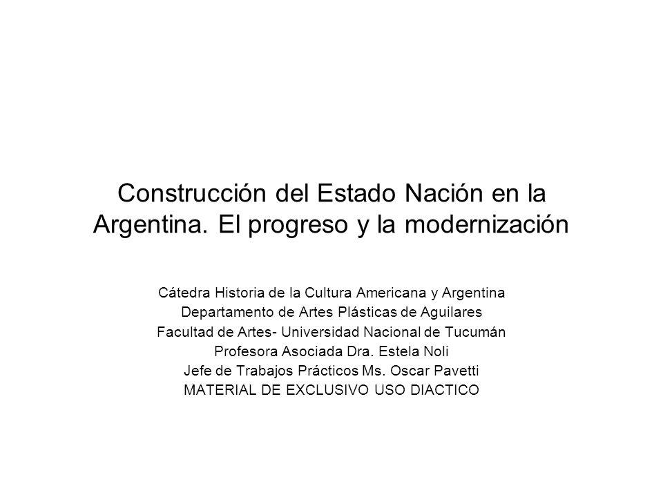 Construcción del Estado Nación en la Argentina. El progreso y la modernización Cátedra Historia de la Cultura Americana y Argentina Departamento de Ar