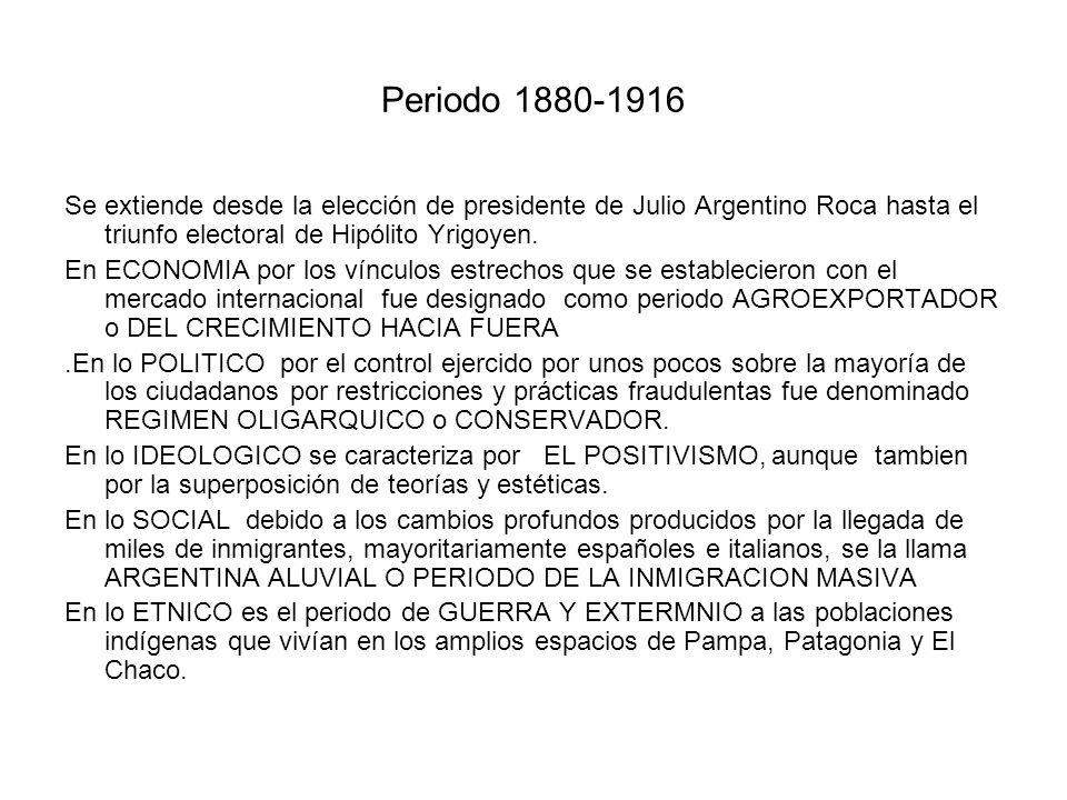 Periodo 1880-1916 Se extiende desde la elección de presidente de Julio Argentino Roca hasta el triunfo electoral de Hipólito Yrigoyen. En ECONOMIA por