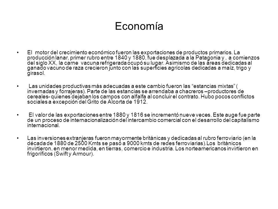 Economía El motor del crecimiento económico fueron las exportaciones de productos primarios. La producción lanar, primer rubro entre 1840 y 1880, fue