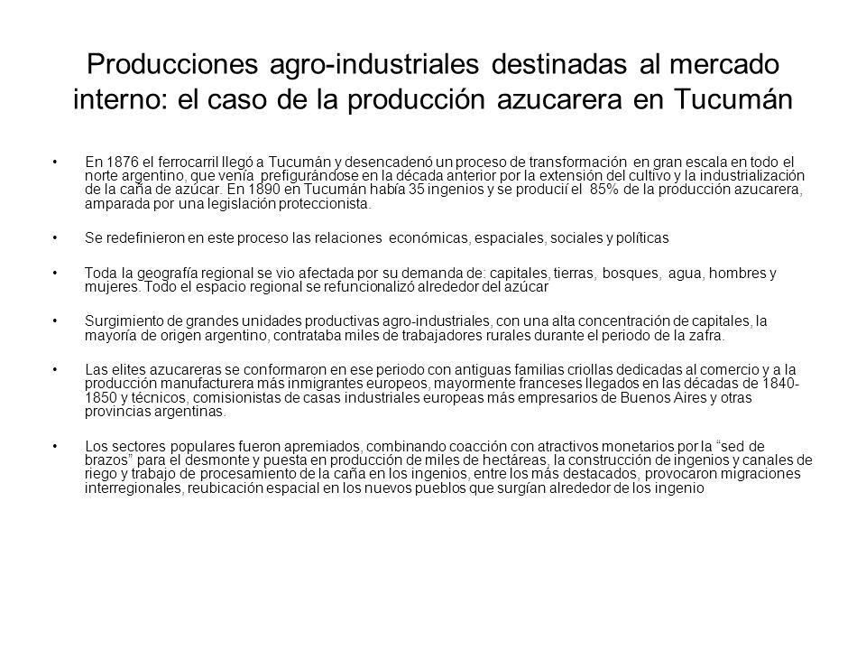 Producciones agro-industriales destinadas al mercado interno: el caso de la producción azucarera en Tucumán En 1876 el ferrocarril llegó a Tucumán y d