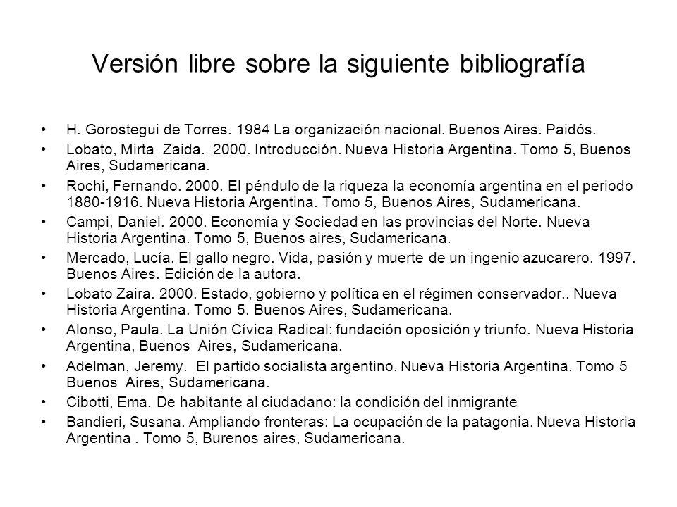 Versión libre sobre la siguiente bibliografía H. Gorostegui de Torres. 1984 La organización nacional. Buenos Aires. Paidós. Lobato, Mirta Zaida. 2000.