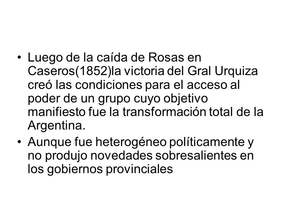 Luego de la caída de Rosas en Caseros(1852)la victoria del Gral Urquiza creó las condiciones para el acceso al poder de un grupo cuyo objetivo manifie