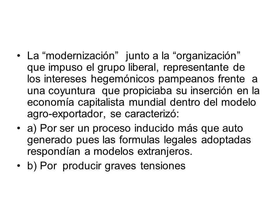 La modernización junto a la organización que impuso el grupo liberal, representante de los intereses hegemónicos pampeanos frente a una coyuntura que