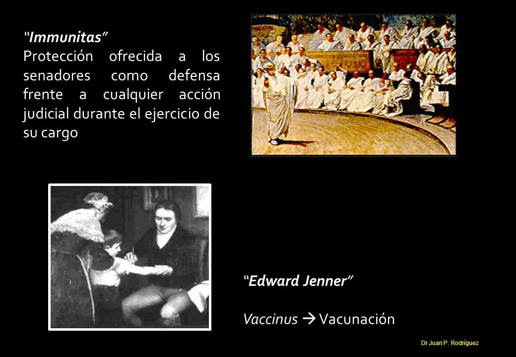 Immunitas Protección ofrecida a los senadores como defensa frente a cualquier acción judicial durante el ejercicio de su cargo Edward Jenner Vaccinus