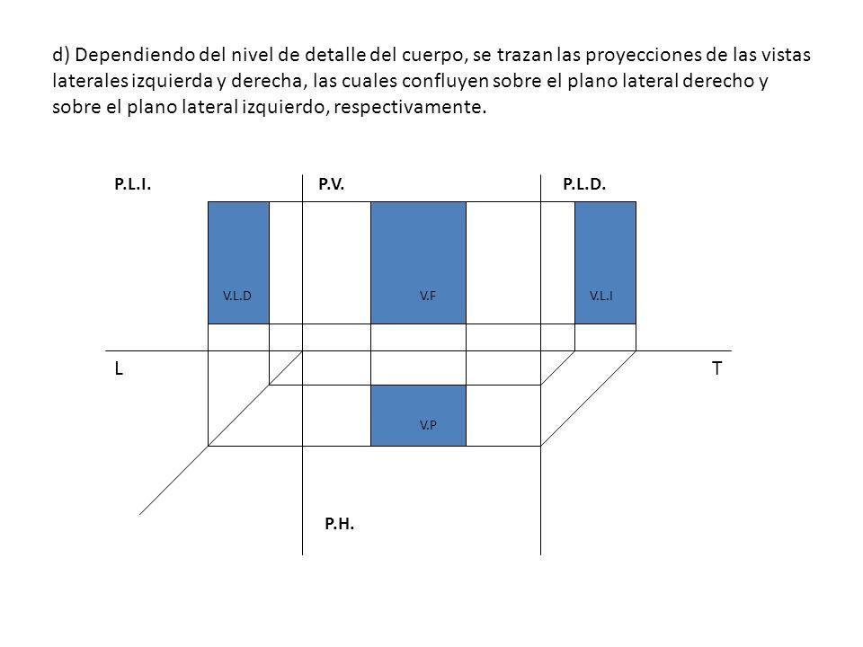 d) Dependiendo del nivel de detalle del cuerpo, se trazan las proyecciones de las vistas laterales izquierda y derecha, las cuales confluyen sobre el