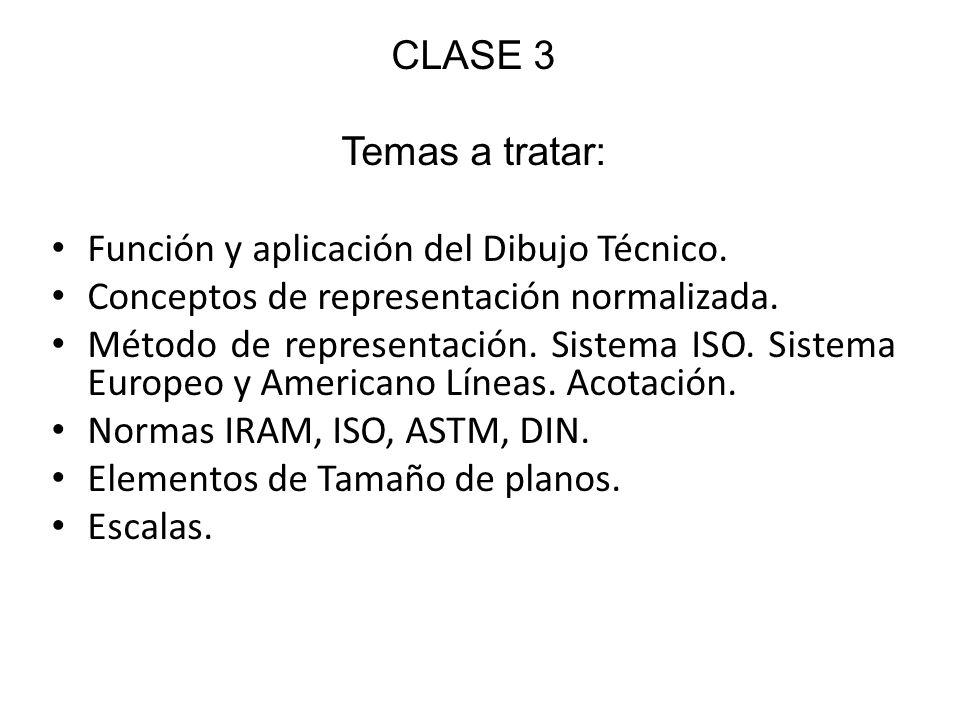 CLASE 3 Temas a tratar: Función y aplicación del Dibujo Técnico. Conceptos de representación normalizada. Método de representación. Sistema ISO. Siste