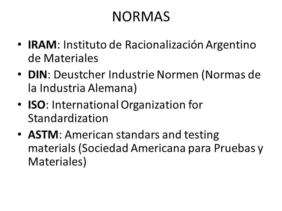 NORMAS IRAM: Instituto de Racionalización Argentino de Materiales DIN: Deustcher Industrie Normen (Normas de la Industria Alemana) ISO: International
