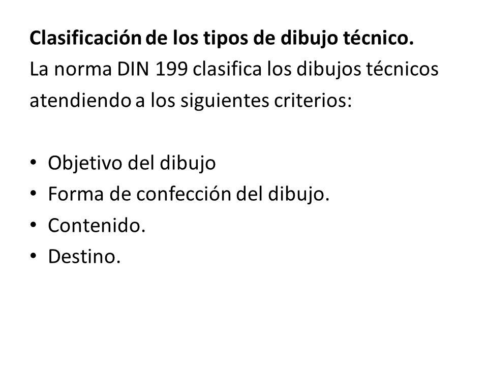 Clasificación de los tipos de dibujo técnico. La norma DIN 199 clasifica los dibujos técnicos atendiendo a los siguientes criterios: Objetivo del dibu