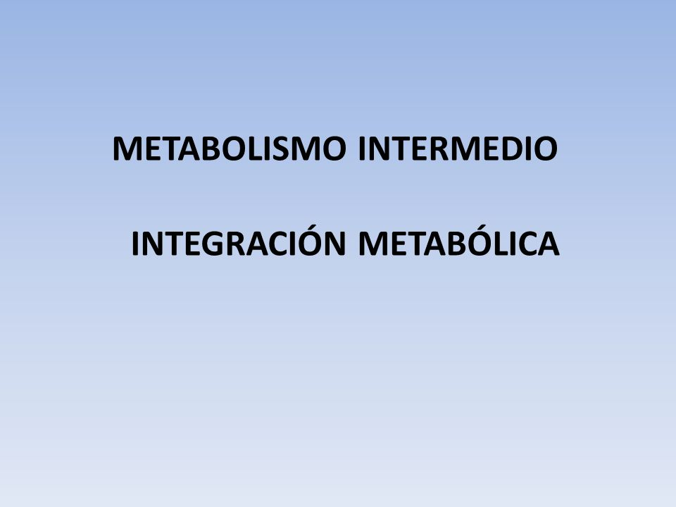 INTEGRACIÓN METABÓLICA METABOLISMO INTERMEDIO