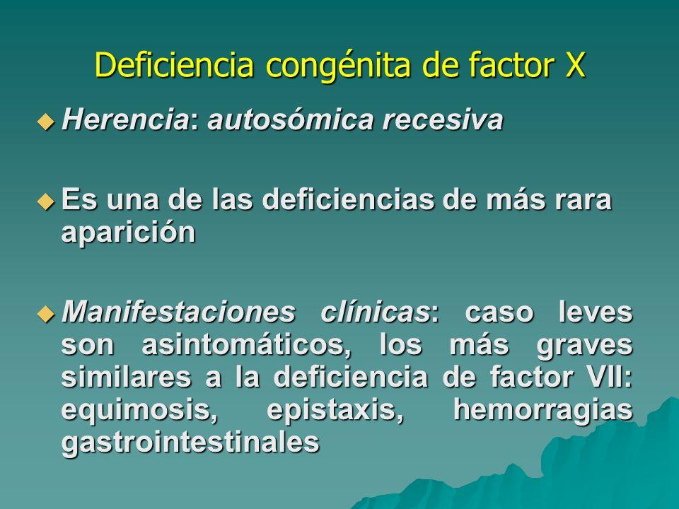 Deficiencia congénita de factor X Alteraciones moleculares Grandes deleciones.