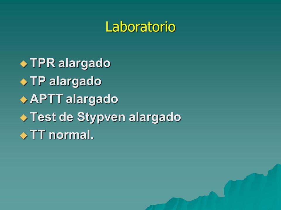 Tratamiento La profilaxis y el tratamiento se realiza con CCP (Prothromplex ®, Baxter): 20- 30 U/kg seguidos de un mantenimiento de 5 U/kg/24 horas) Plasma fresco Plasma fresco Vida media 60-80 hs.