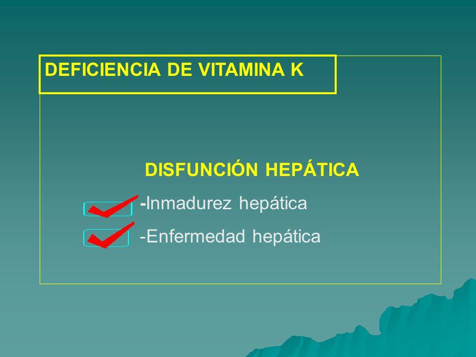 Situaciones clínicas que cursan con déficit de VITAMINA K Situaciones clínicas que cursan con déficit de VITAMINA K Enfermedad hemorrágica del RN Enfermedad hemorrágica del RN Ictericia obstructiva Ictericia obstructiva Síndrome de mala absorción Síndrome de mala absorción Alimentación parenteral sin aporte de vitamina K Alimentación parenteral sin aporte de vitamina K Esterilización intestinal por tratamiento con ATB Esterilización intestinal por tratamiento con ATB Tratamiento con anticoagulantes orales Tratamiento con anticoagulantes orales