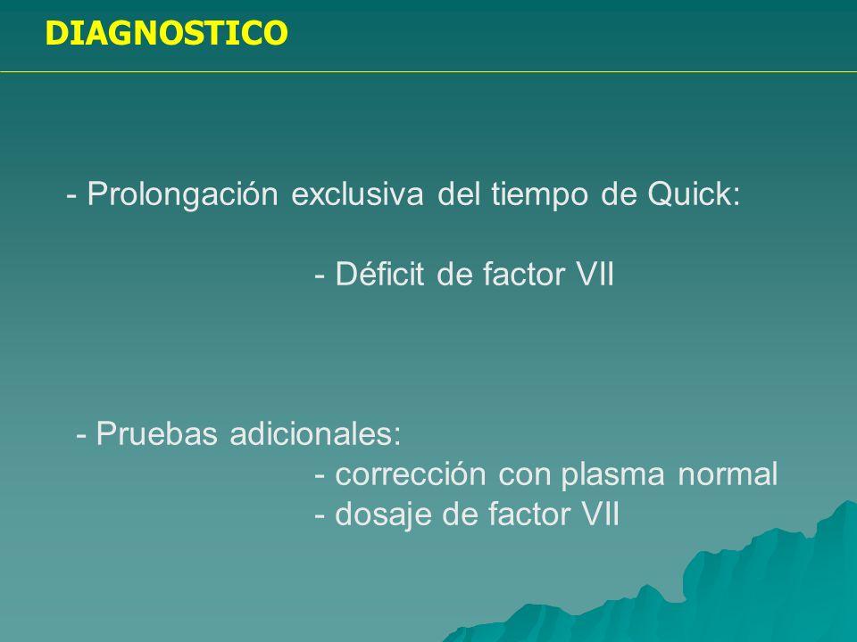 DIAGNOSTICO - Alteraciones combinadas del APTT y tiempo de Quick: - Déficit de factores de tronco común - Inhibidores de la coagulación - Hepatopatías - Déficit de vitamina K - CID - Fibrinolisis - Proteolisis inespecífica - Pruebas adicionales: - corrección con plasma normal - dosaje de factores - PDF y dímero- D