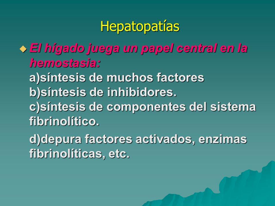Hepatopatías Hepatopatías Los pacientes con hepatopatías pueden presentar : CID FIBRINOLISIS PRIMARIA PLAQUETOPENIA Los pacientes con hepatopatías pueden presentar : CID FIBRINOLISIS PRIMARIA PLAQUETOPENIA