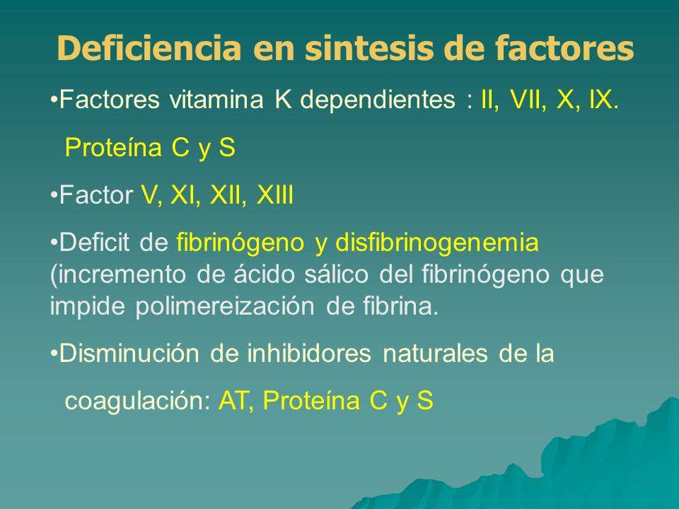 Sistema fibrinolítico: deficit de α2 antiplasmina Disminución del aclaramiento de factores activados circulantes CID Otros: Pérdida o consumo de factores en el líquido ascítico.