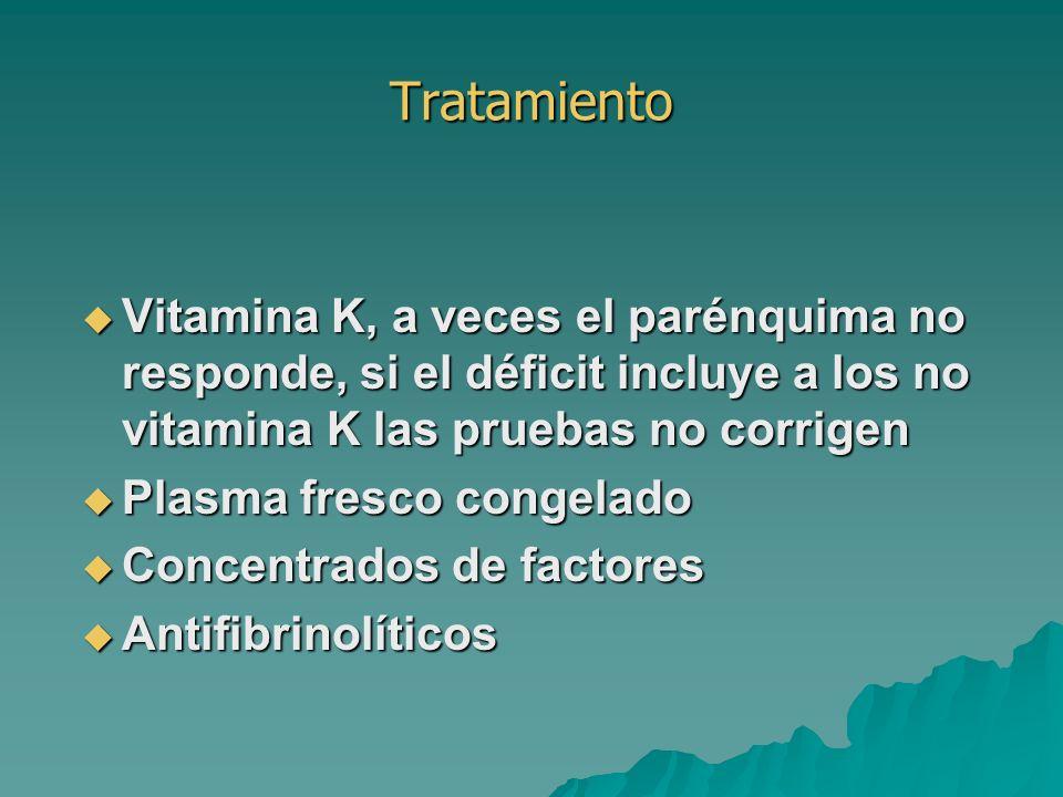 Tratamiento Vitamina K, a veces el parénquima no responde, si el déficit incluye a los no vitamina K las pruebas no corrigen Vitamina K, a veces el pa