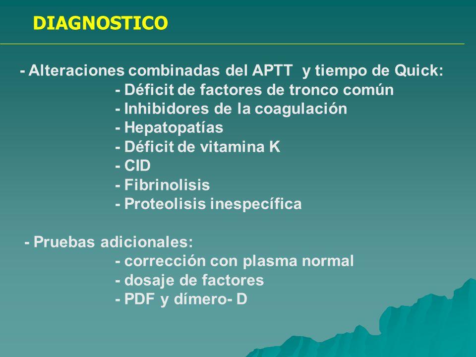 DIAGNOSTICO - Alteración aislada del tiempo de trombina: - Hipo- afibrinogenemias - Disfibrinogenemias - Heparina - Pruebas adicionales: - dosaje de fibrinógeno funcional e inmunológico