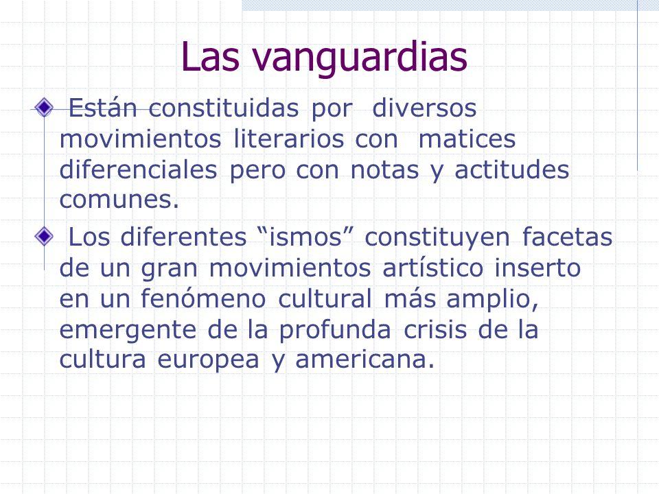 Las vanguardias Están constituidas por diversos movimientos literarios con matices diferenciales pero con notas y actitudes comunes. Los diferentes is