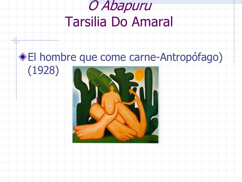 O Abapuru Tarsilia Do Amaral El hombre que come carne-Antropófago) (1928)