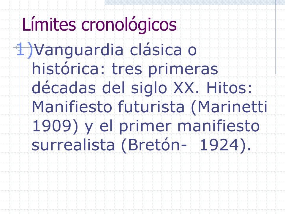 Límites cronológicos 1) Vanguardia clásica o histórica: tres primeras décadas del siglo XX. Hitos: Manifiesto futurista (Marinetti 1909) y el primer m