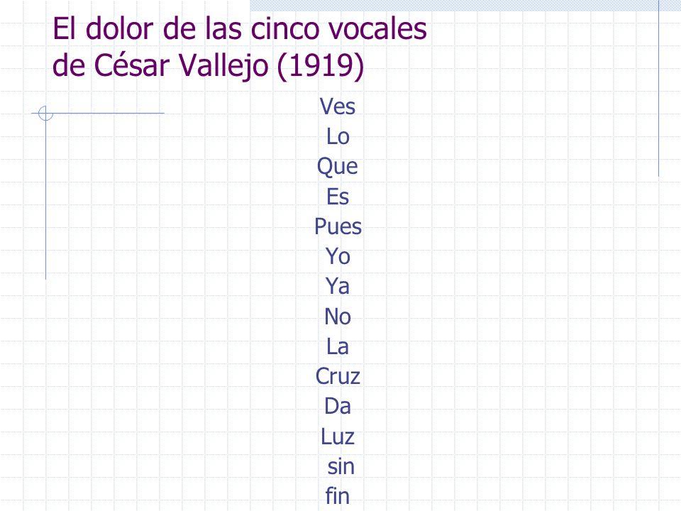 El dolor de las cinco vocales de César Vallejo (1919) Ves Lo Que Es Pues Yo Ya No La Cruz Da Luz sin fin