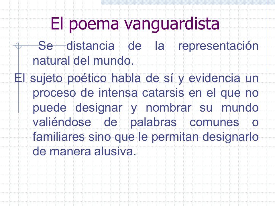 El poema vanguardista Se distancia de la representación natural del mundo. El sujeto poético habla de sí y evidencia un proceso de intensa catarsis en