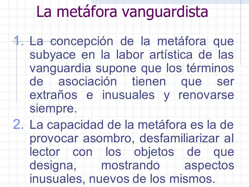 La metáfora vanguardista 1. La concepción de la metáfora que subyace en la labor artística de las vanguardia supone que los términos de asociación tie