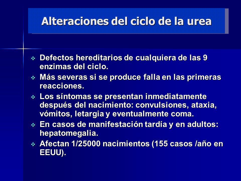 Alteraciones del ciclo de la urea Defectos hereditarios de cualquiera de las 9 enzimas del ciclo. Defectos hereditarios de cualquiera de las 9 enzimas