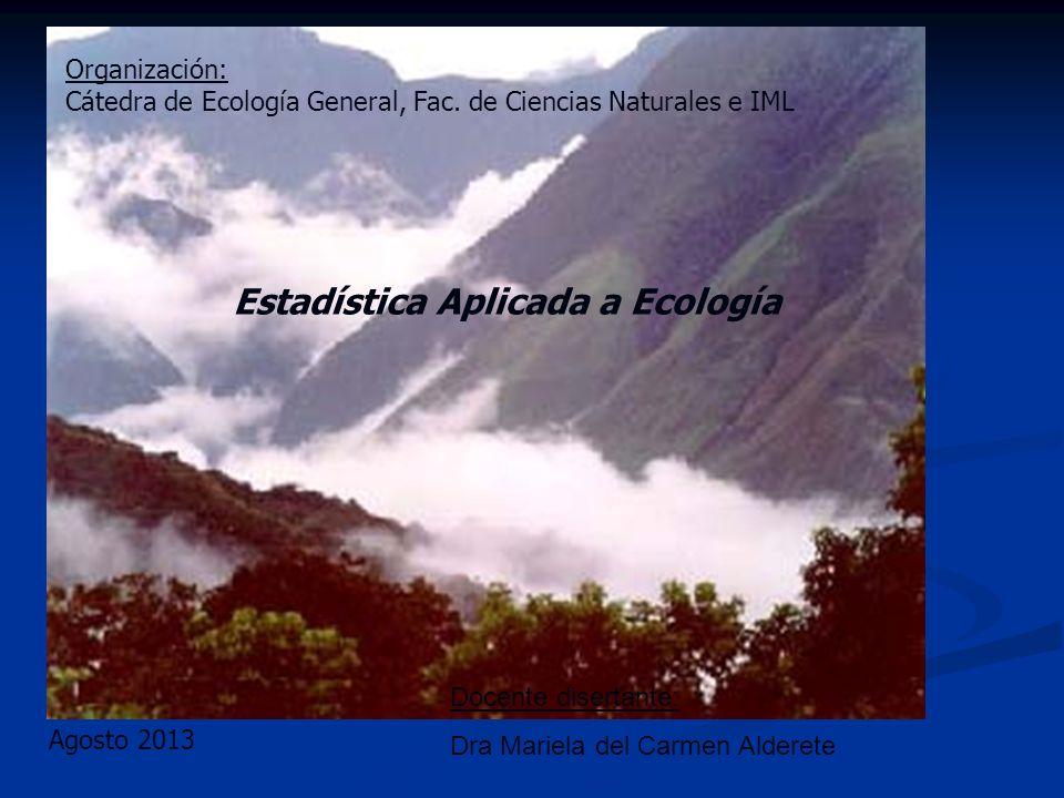 Agosto 2013 Estadística Aplicada a Ecología Docente disertante: Dra Mariela del Carmen Alderete Organización: Cátedra de Ecología General, Fac. de Cie