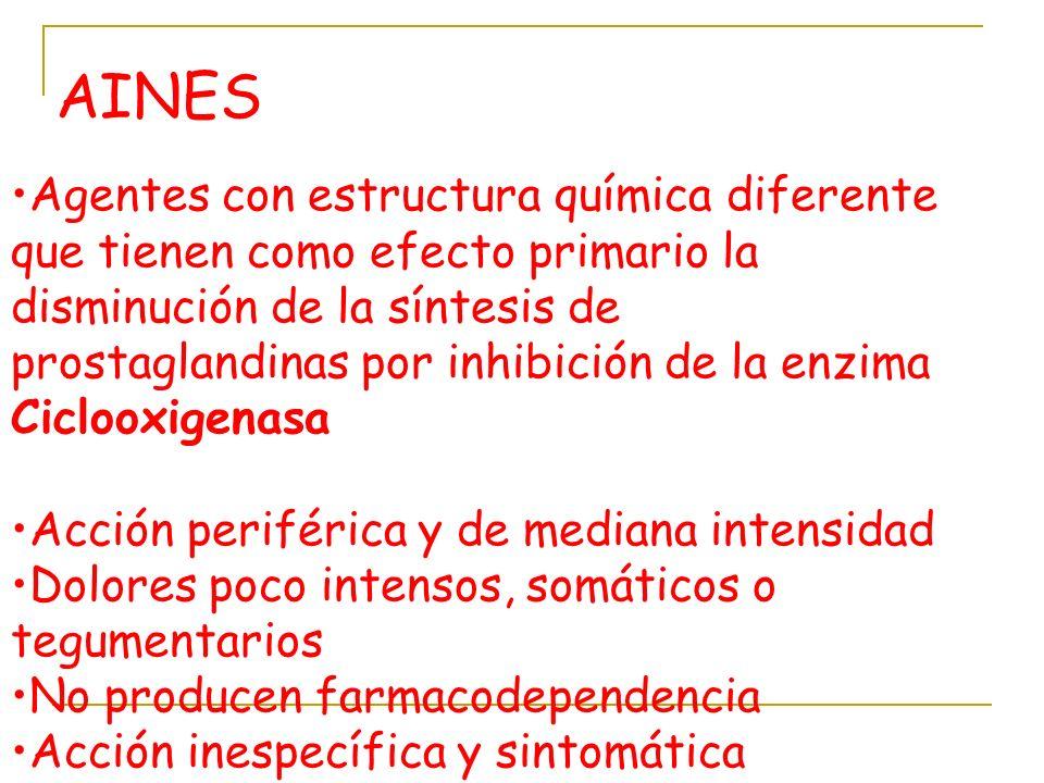 AINES Agentes con estructura química diferente que tienen como efecto primario la disminución de la síntesis de prostaglandinas por inhibición de la e