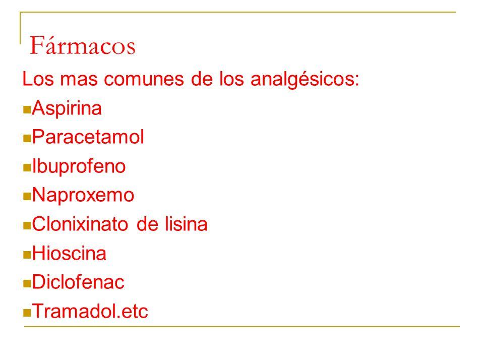 Fármacos Los mas comunes de los analgésicos: Aspirina Paracetamol Ibuprofeno Naproxemo Clonixinato de lisina Hioscina Diclofenac Tramadol.etc