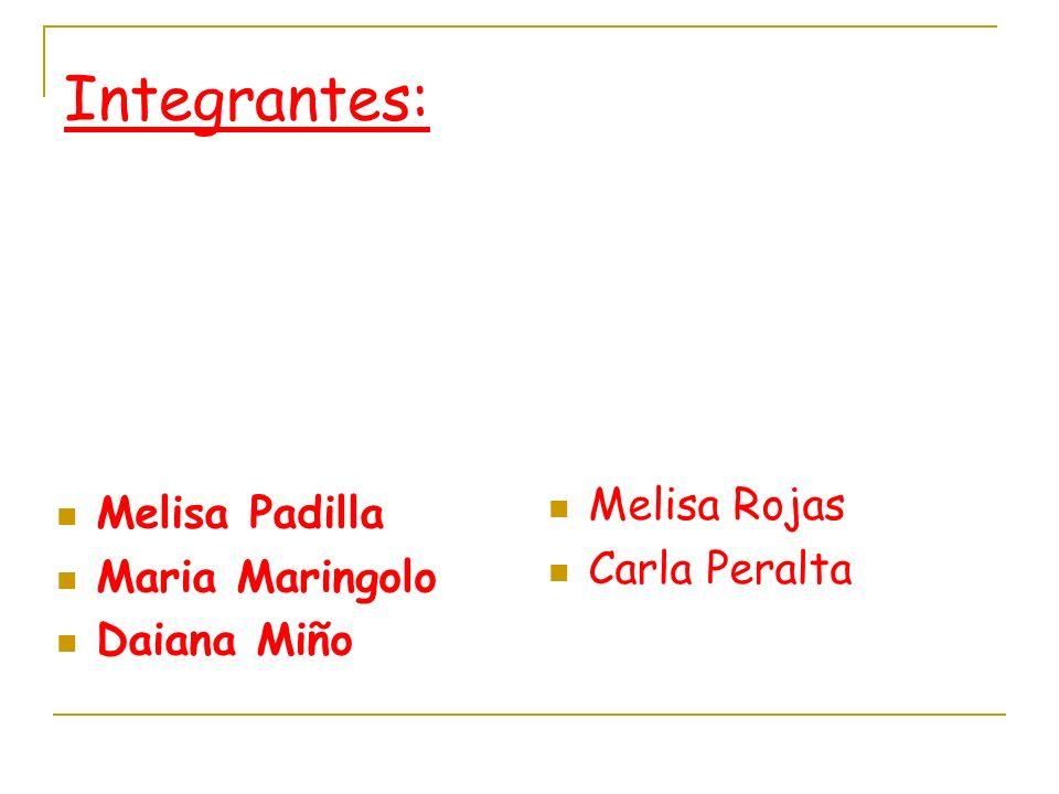 Integrantes: Melisa Padilla Maria Maringolo Daiana Miño Melisa Rojas Carla Peralta