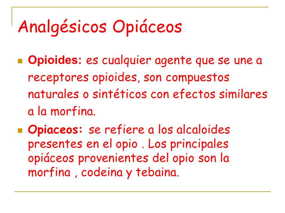 Analgésicos Opiáceos Opioides: es cualquier agente que se une a receptores opioides, son compuestos naturales o sintéticos con efectos similares a la