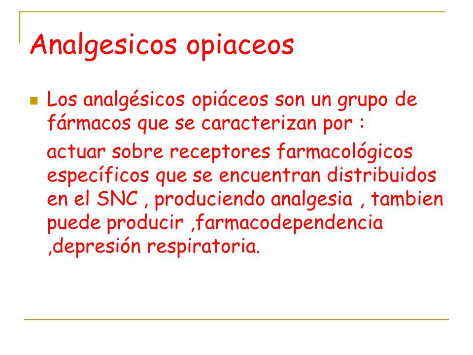 Analgesicos opiaceos Los analgésicos opiáceos son un grupo de fármacos que se caracterizan por : actuar sobre receptores farmacológicos específicos qu