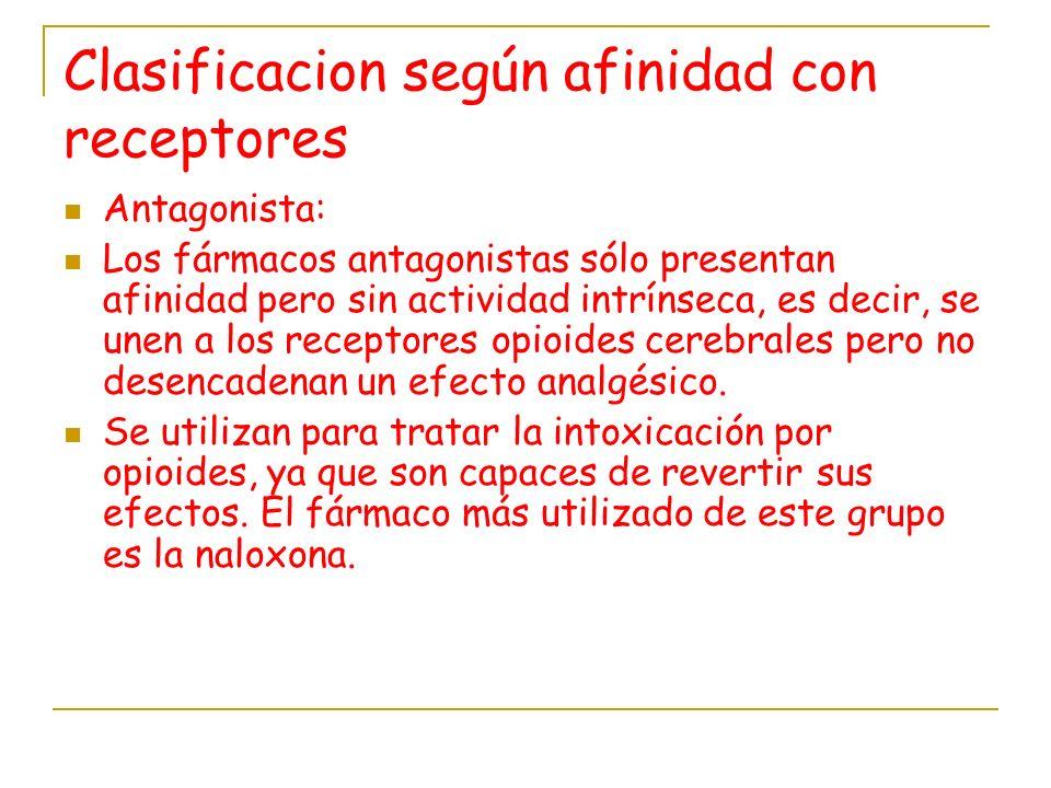 Clasificacion según afinidad con receptores Antagonista: Los fármacos antagonistas sólo presentan afinidad pero sin actividad intrínseca, es decir, se