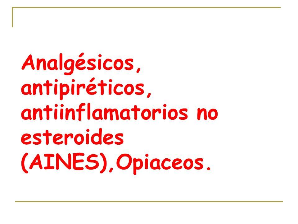 Analgésicos, antipiréticos, antiinflamatorios no esteroides (AINES),Opiaceos.
