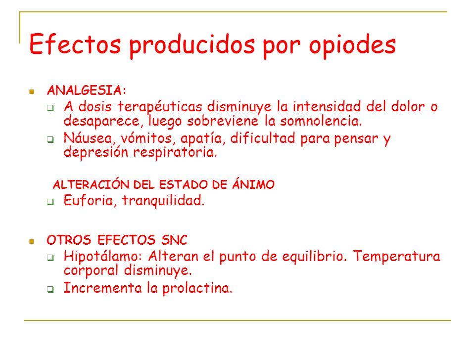 Efectos producidos por opiodes ANALGESIA: A dosis terapéuticas disminuye la intensidad del dolor o desaparece, luego sobreviene la somnolencia. Náusea