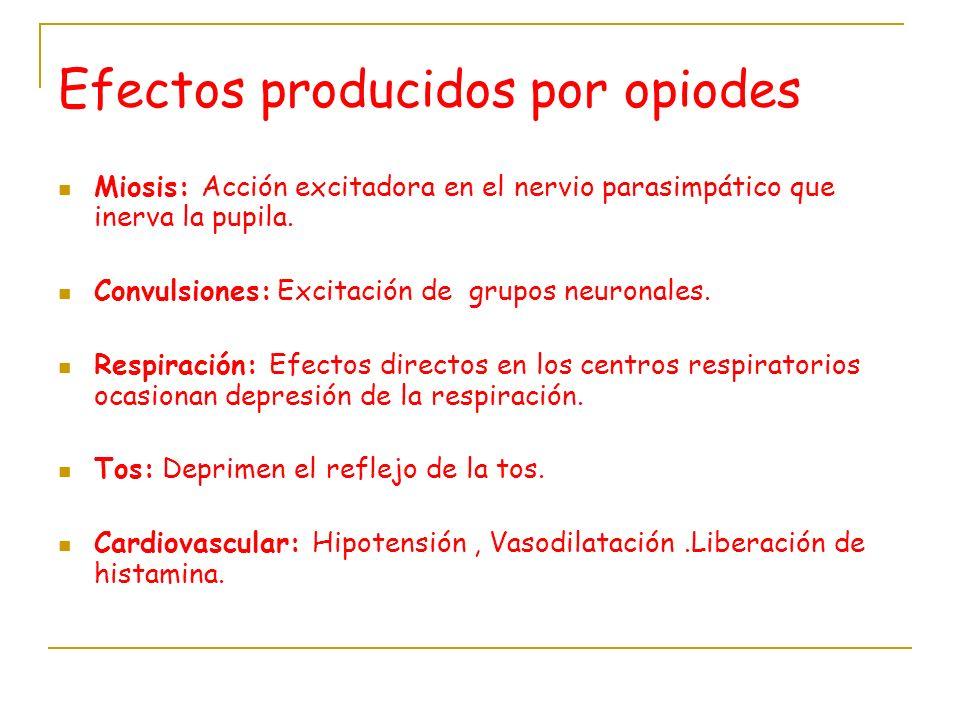 Efectos producidos por opiodes Miosis: Acción excitadora en el nervio parasimpático que inerva la pupila. Convulsiones: Excitación de grupos neuronale