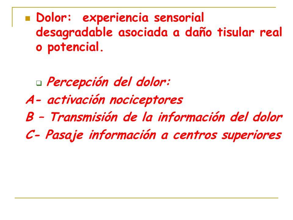 Dolor: experiencia sensorial desagradable asociada a daño tisular real o potencial. Percepción del dolor: A- activación nociceptores B – Transmisión d