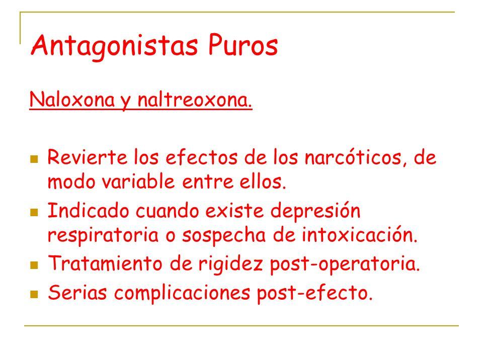 Antagonistas Puros Naloxona y naltreoxona. Revierte los efectos de los narcóticos, de modo variable entre ellos. Indicado cuando existe depresión resp